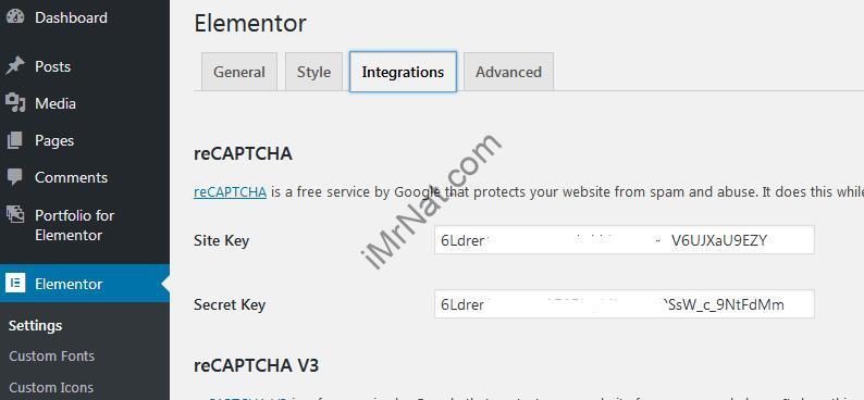 reCAPTCHA key for elementor setting
