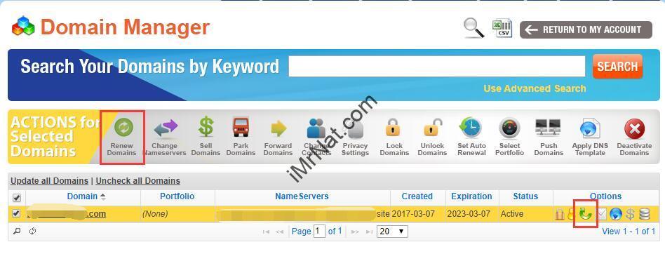 NameSilo domain manager auto renew