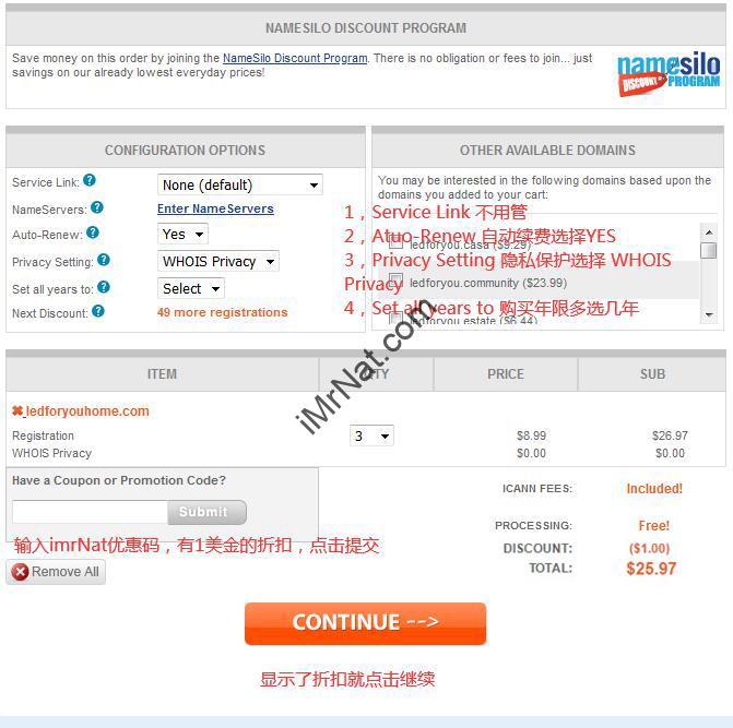 namesilo domain buying setting