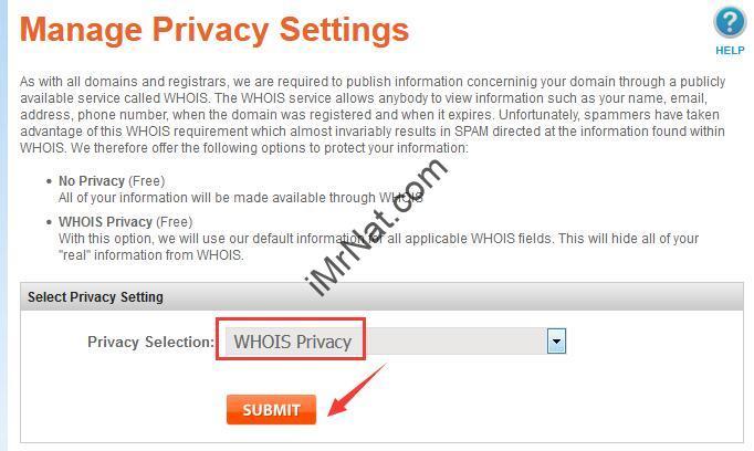 namsilo manage privacy settings